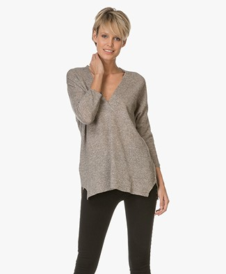 Repeat Cashmere en Linnen V-hals Trui - Earth