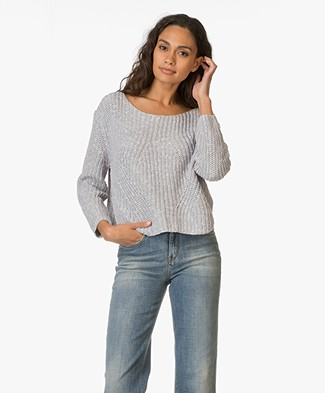 Repeat Knitted Pullover in Cotton Blend - Cloud