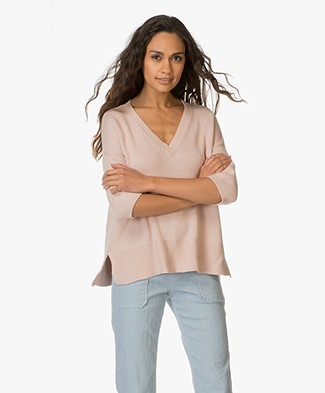 Repeat Cotton V-neck Sweater - Gloss