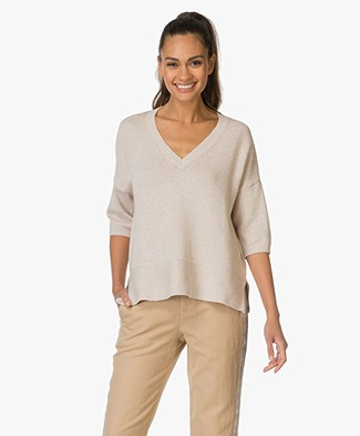 Repeat Cotton V-neck Sweater - Hay