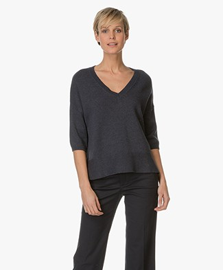 Repeat Cotton V-neck Sweater - Ink