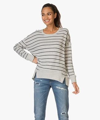 Denham Captain Striped Fleece Sweater - Grey Marl