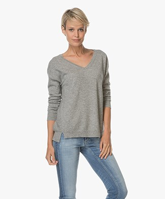 Closed  Cashmere V-neck Pullover - Grey Heather Melange