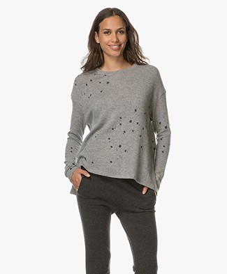 Majestic Merino Wool and Cashmere Pullover - Grey Melange