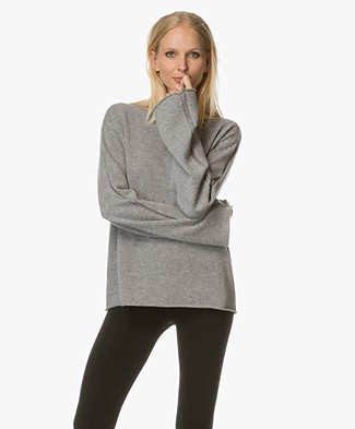 Fine Edge Subtile Open-worked Sweater - Grey