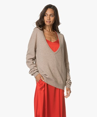 Extreme Cashmere Be Low V-hals Trui - Zand