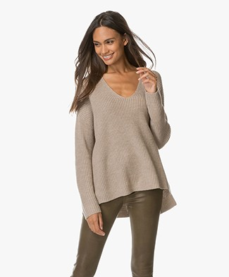 Repeat Oversized Merino Pullover with V-neck - Beige