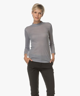 Filippa K 3/4 Sleeve Mock Neck Pullover - Smoke