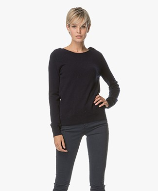 Repeat Cashmere Boat Neck Pullover - Navy