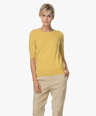 Repeat Short Sleeve Cashmere Pullover - Mustard