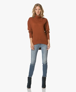 Joseph Wool Pullover with High Cowl Neck - Rust