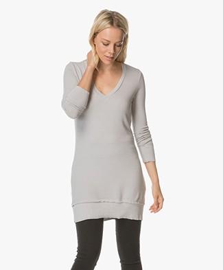 BRAEZ Ultra Soft Jersey Long V-neck Sweater - Grey