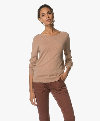 Repeat Cashmere Boat Neck Pullover - Camel