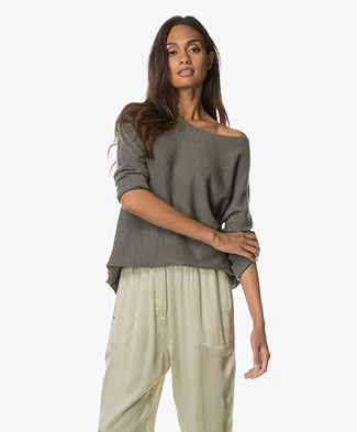 Repeat Cashmere Pullover with Cropped Sleeves - Khaki
