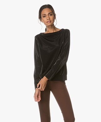 Drykorn Timka Cotton Blend Shirt - Black Lurex