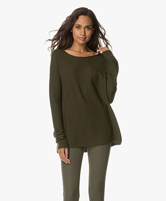 Drykorn Milly Wool Boat Neck Sweater - Dark Green