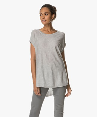 Repeat A-line Pullover with Short Sleeves - Light Grey Melange