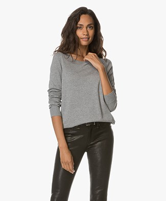 Repeat Cotton Blend Boat Neck Pullover - Grey