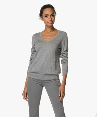 Repeat V-neck Cotton Blend Pullover - Grey