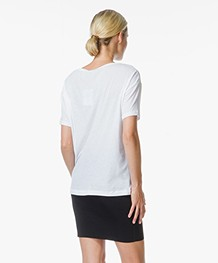 T by Alexander Wang Pima Cotton Low Neck Tee - Wit