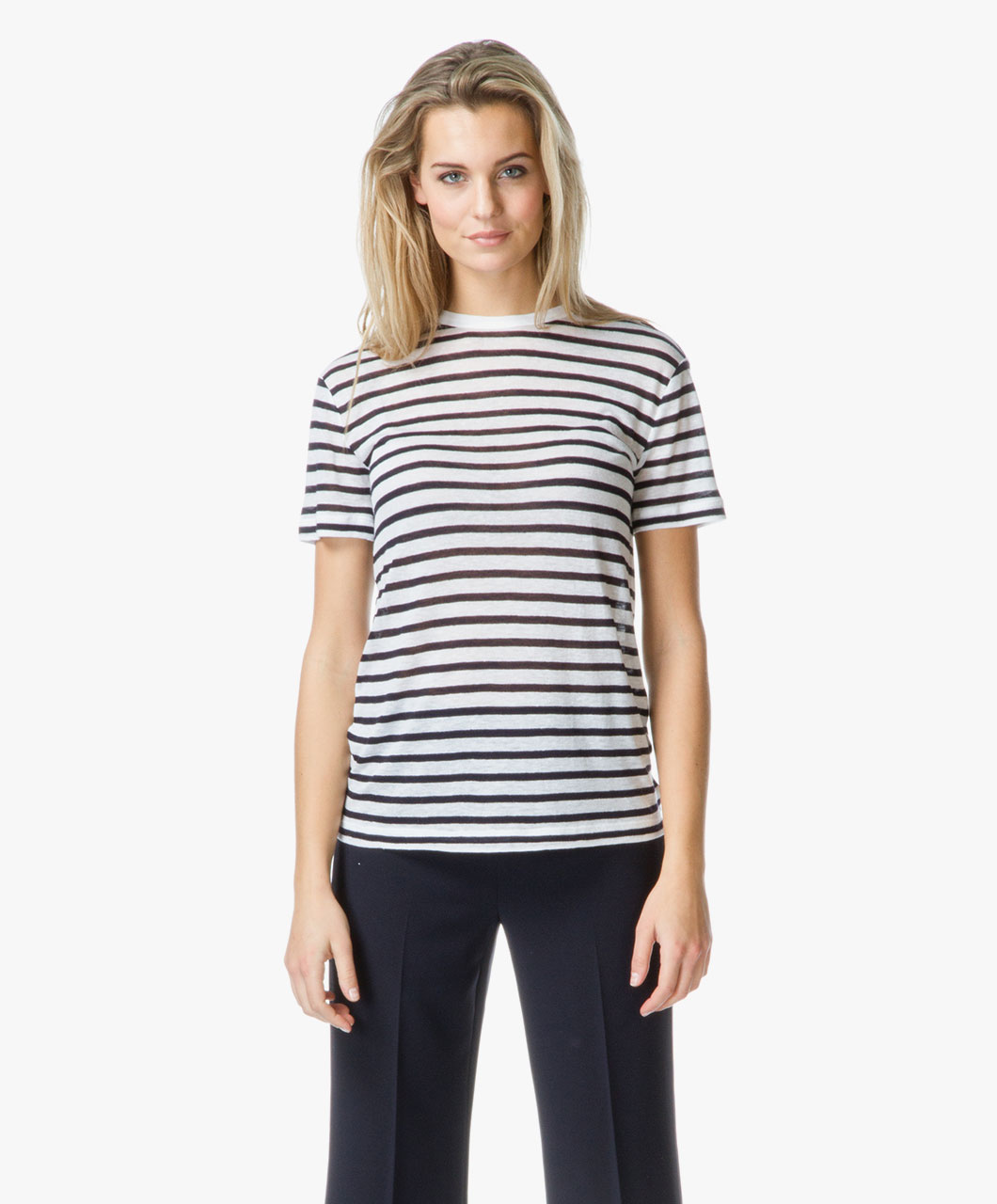 T By Alexander Wang Stripe Linen T Shirt Ink Ivory