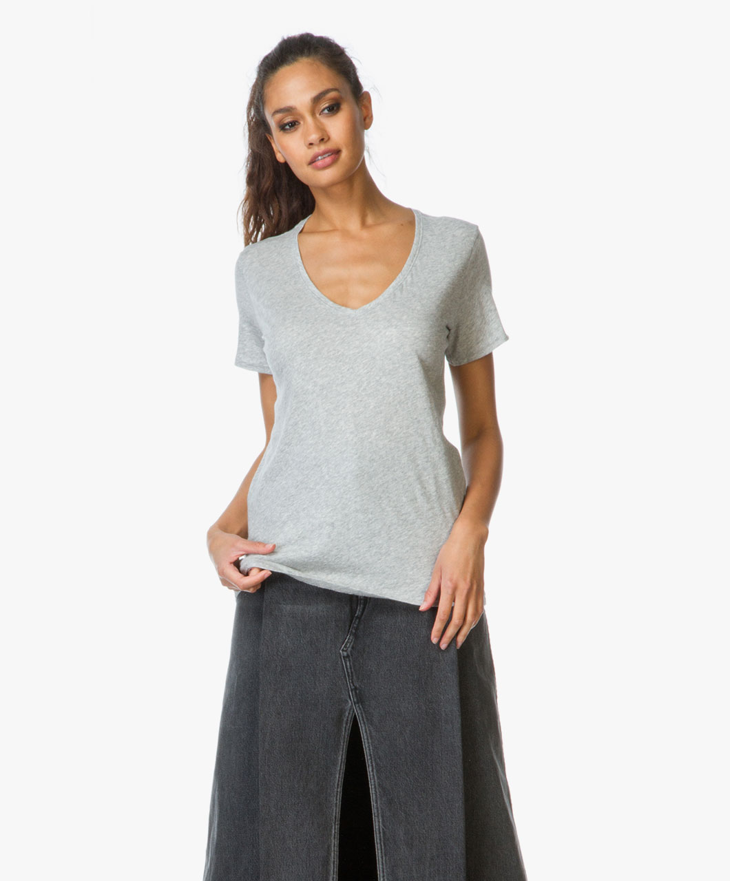Rag bone jean base v neck t shirt heather grey for Rag and bone t shirts