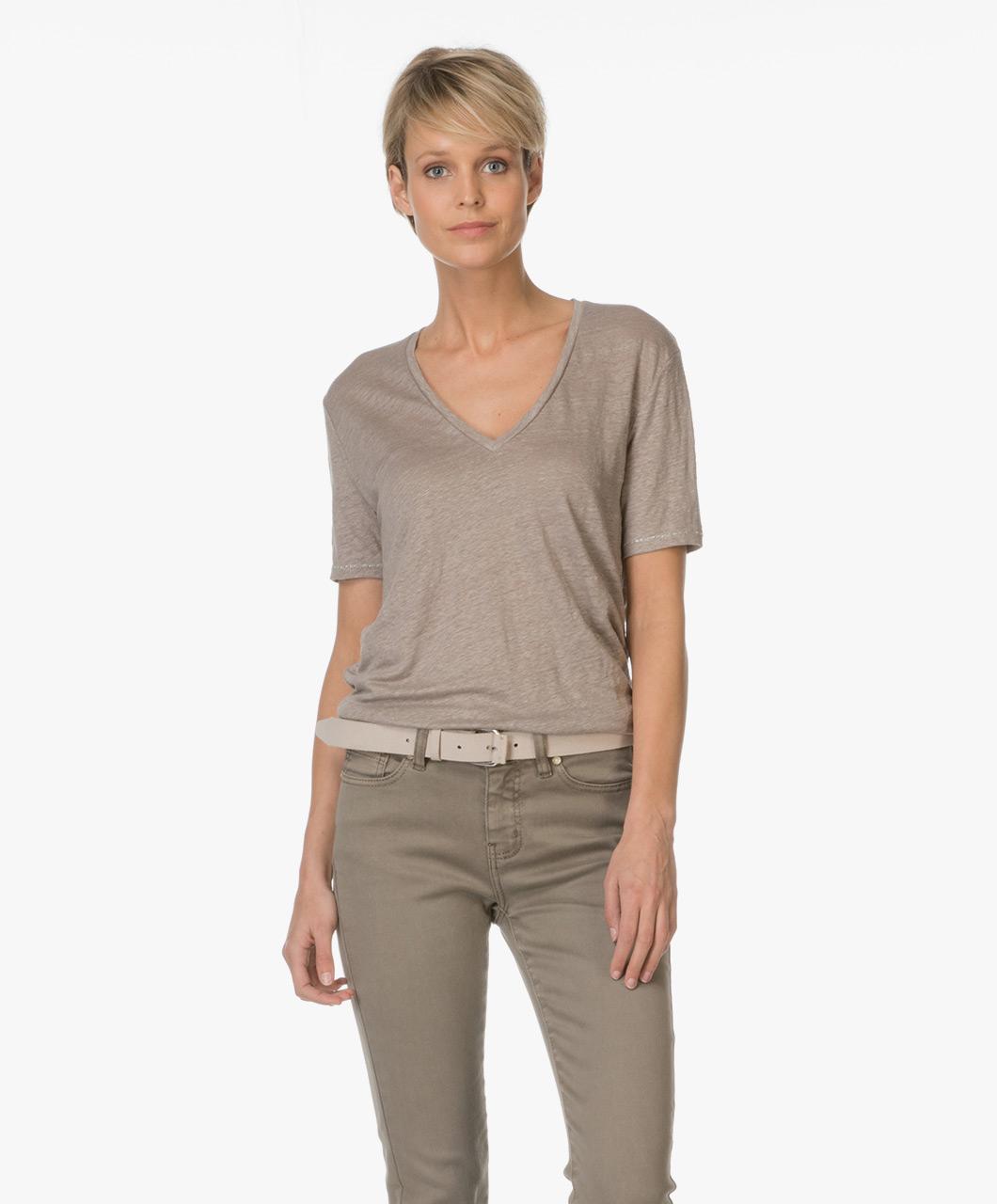 drykorn casa linen t shirt taupe casa 502108 14. Black Bedroom Furniture Sets. Home Design Ideas