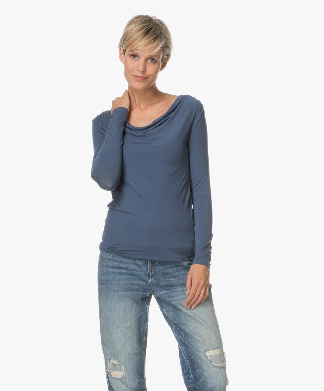 Majestic Jersey Shirt With Waterfall Neckline Denim