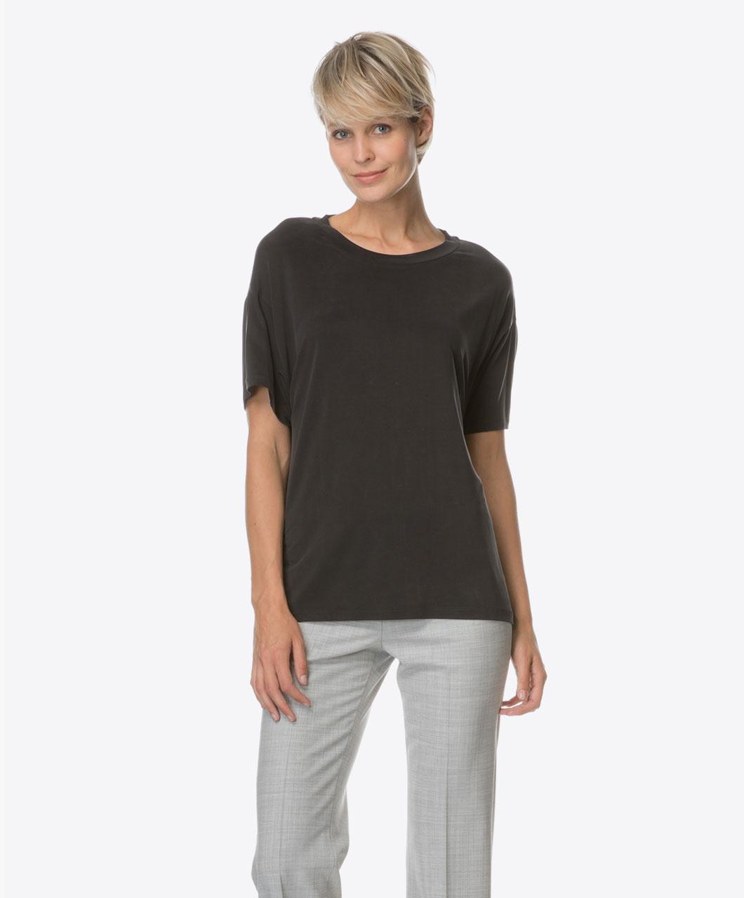 drykorn kyla cupro t shirt black kyla 507211 1000. Black Bedroom Furniture Sets. Home Design Ideas