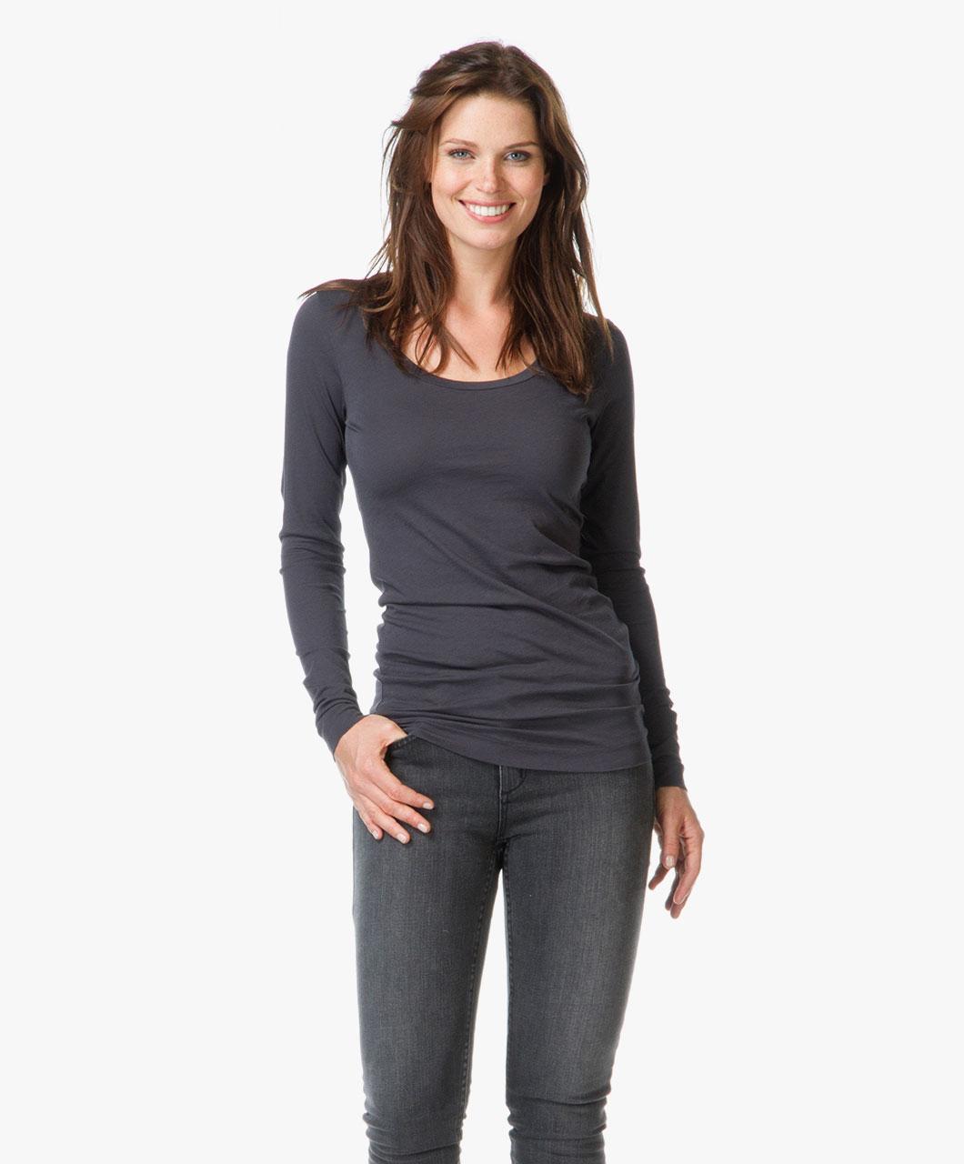 drykorn lina basic t shirt dark grey lina 500206 3 dark. Black Bedroom Furniture Sets. Home Design Ideas