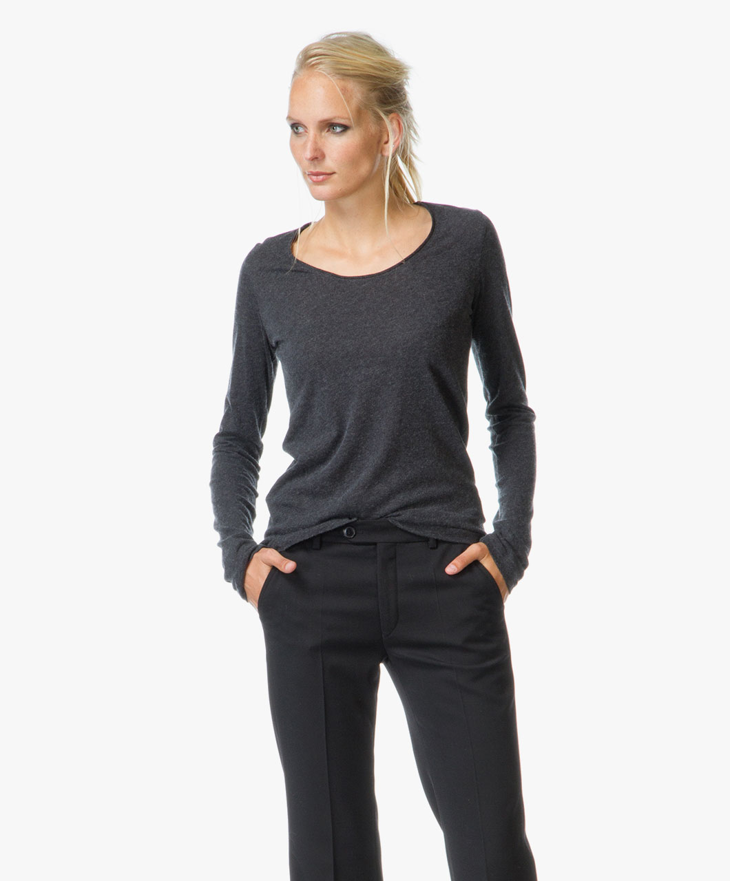 Majestic Cotton Cashmere R Neck Long Sleeve Anthracite