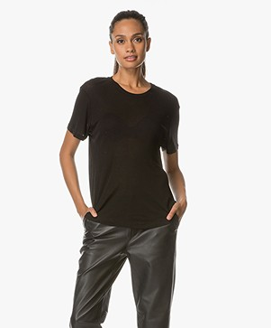 ANINE BING Silk Crew Neck T-Shirt - Black