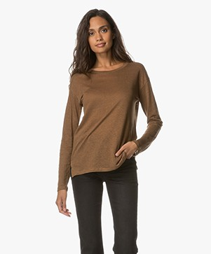 Filippa K Relaxed Long Sleeve Linnen T-shirt - Army