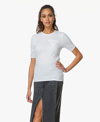 Alexander Wang Crew Neck T-Shirt With Fishnet Overlay