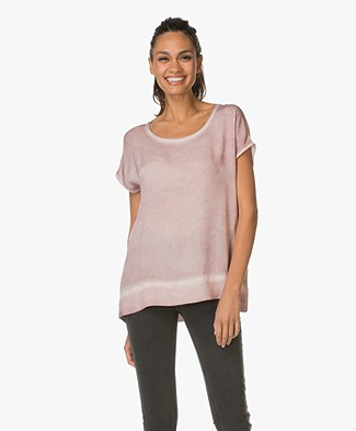 Repeat Silk Top with Round Neck - Blush