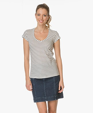 Closed Striped T-shirt - Off-white/Dark Blue