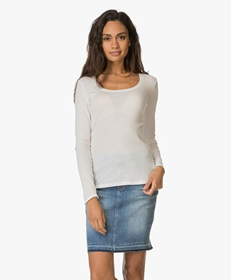 Petit Bateau Round Neck Top with Long Sleeves - Off-white