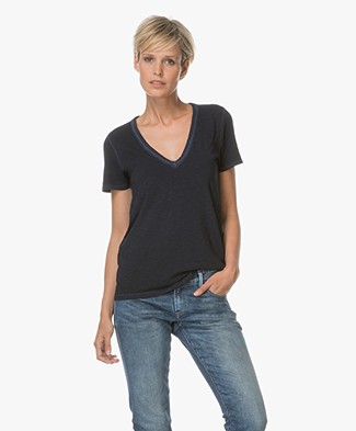 Rag & Bone / Jean Sublime Wash Vee T-shirt - Navy