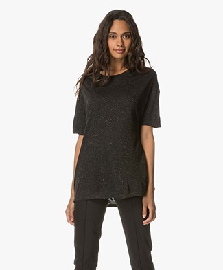 Drykorn Kyla T-shirt with Lurex Detailing - Anthracite