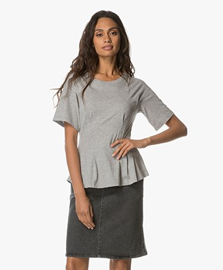 Theory Corset Tee - Light Grey Heather