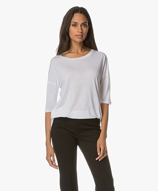 Filippa K Elbow Sleeve Swing Top - Wit