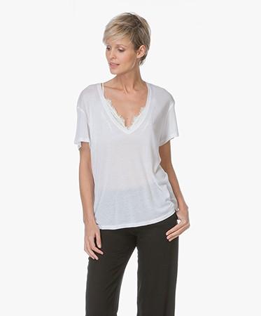 Anine Bing Deep V Neck T Shirt White N141