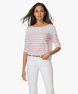 Majestic Striped Linen T-shirt - White/Cherry