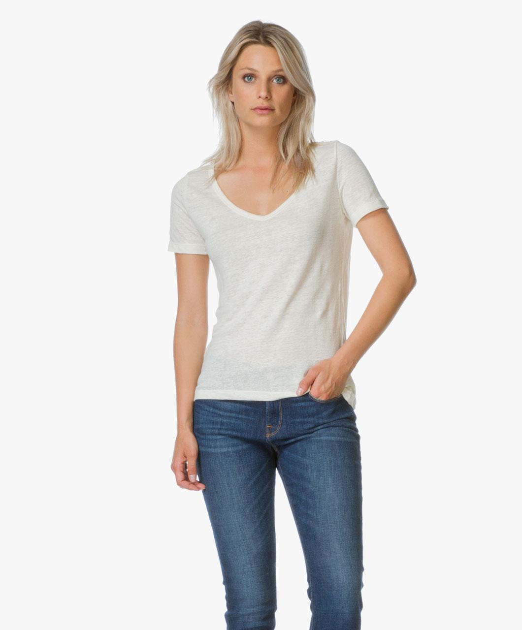 petit bateau jersey linen t shirt off white linnen v. Black Bedroom Furniture Sets. Home Design Ideas
