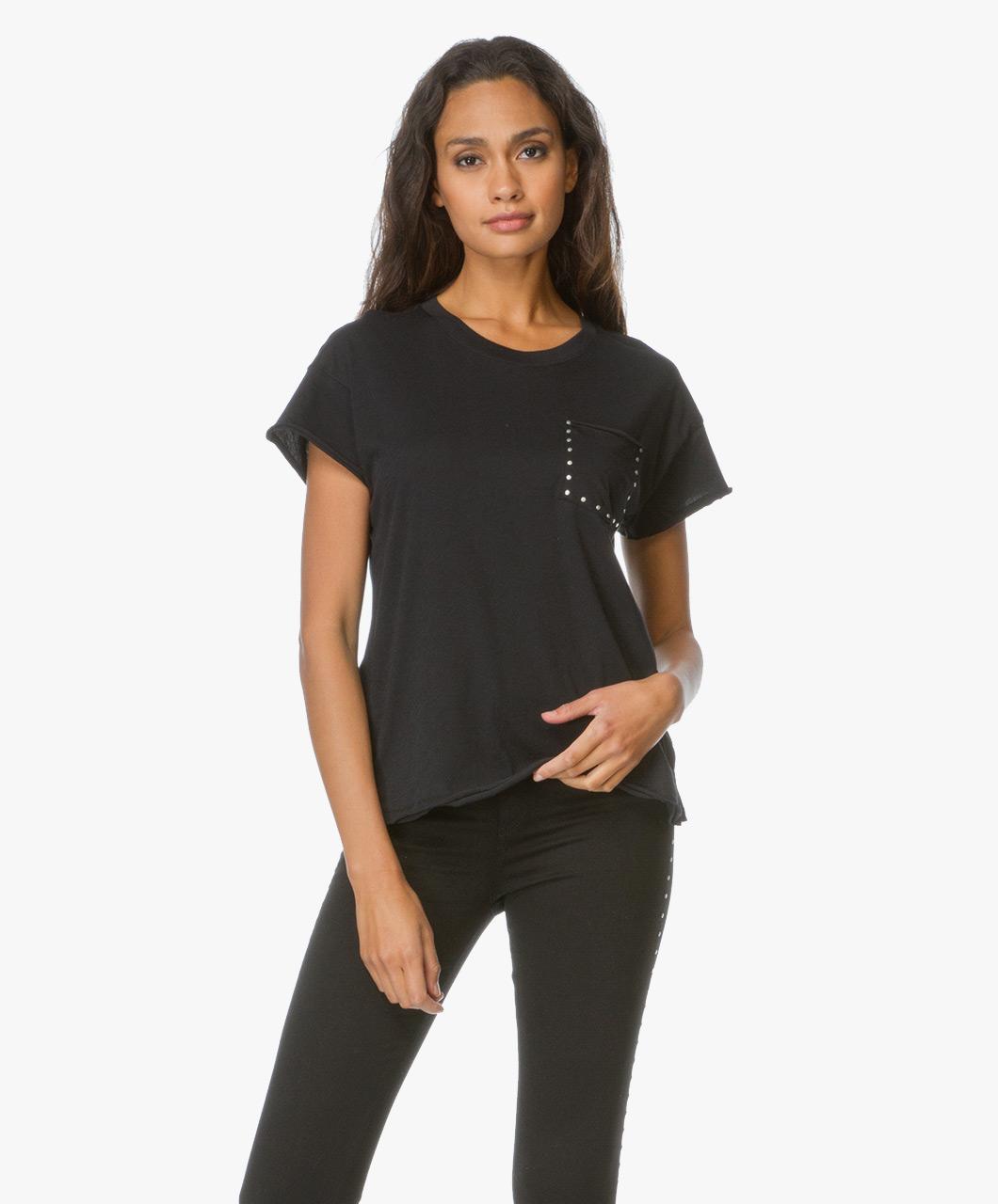 Rag bone jean vintage crew studs t shirt black for Rag and bone t shirts