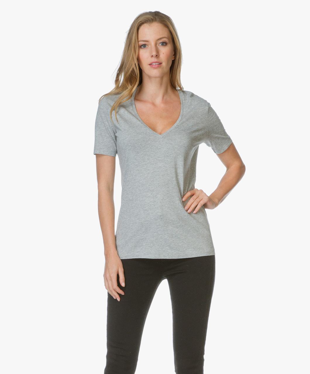 drykorn v neck t shirt casa licht grey melange casa 506200 7 licht melange. Black Bedroom Furniture Sets. Home Design Ideas