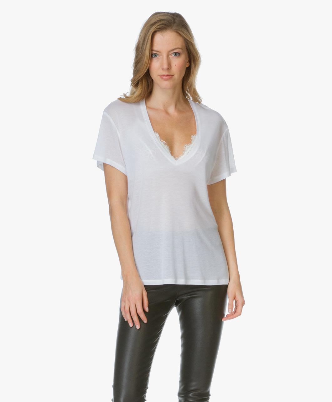 Anine Bing Deep V Neck T Shirt Wit N141 Perfectly Basics