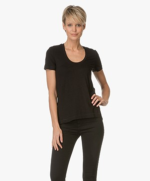 By Malene Birger T-shirt Felicitas in Stretch-blend - Black