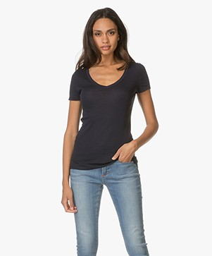 Petit Bateau V-neck T-Shirt in light Cotton