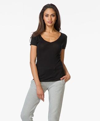 Petit Bateau Cotton V-neck T-shirt - Black